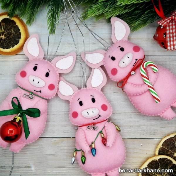 عروسک خوک با نمد