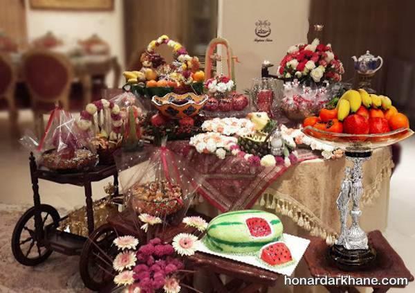 تزیین سفره برای شب یلدا عروس و داماد