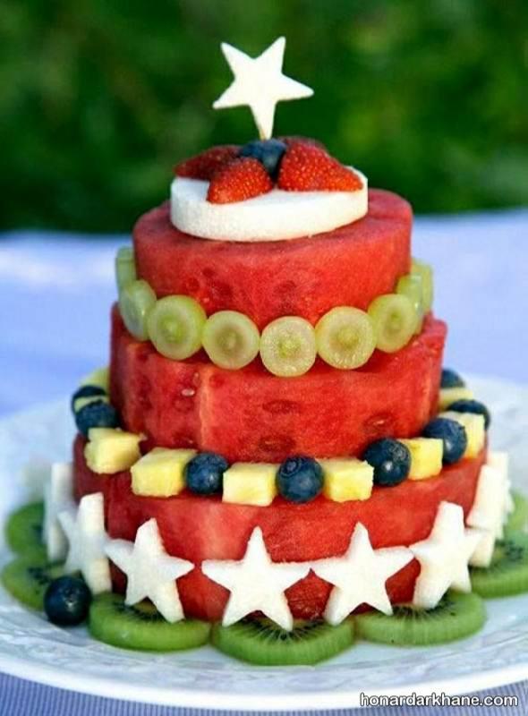 تزیین زیبای هندوانه به شکل کیک