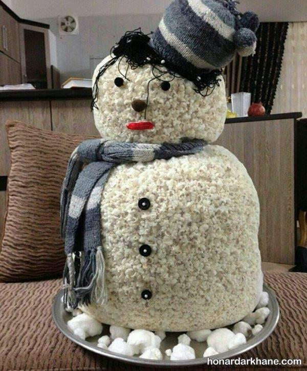 ساخت آدم برفی با پفیلا