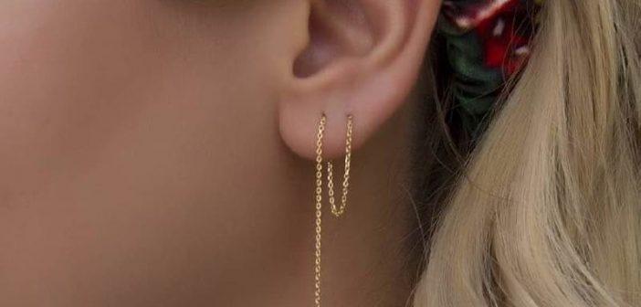 مدل گوشواره بخیه ای جدید و شیک دخترانه طلا و نقره