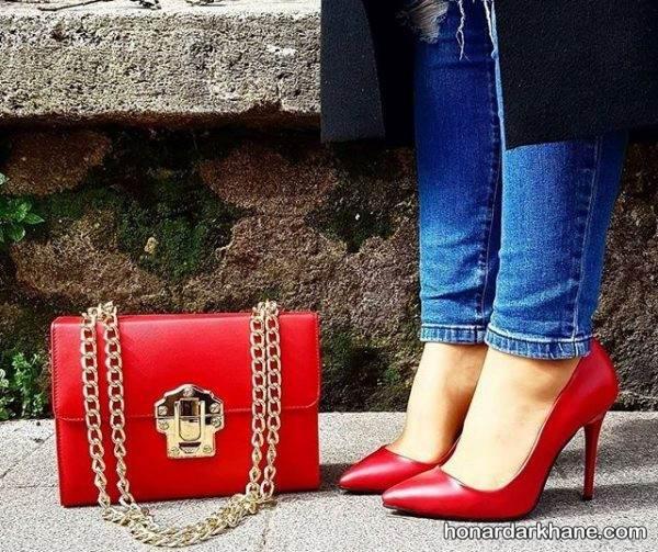 کیف و کفش قرمز ست
