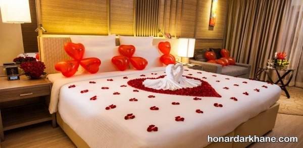 تزیین عاشقانه تختخواب برای ولنتاین
