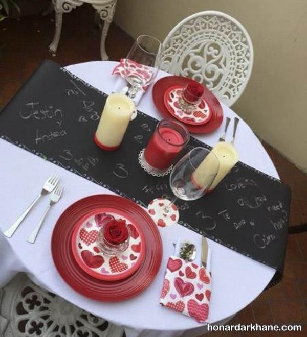 تزیین میز شام ولنتاین