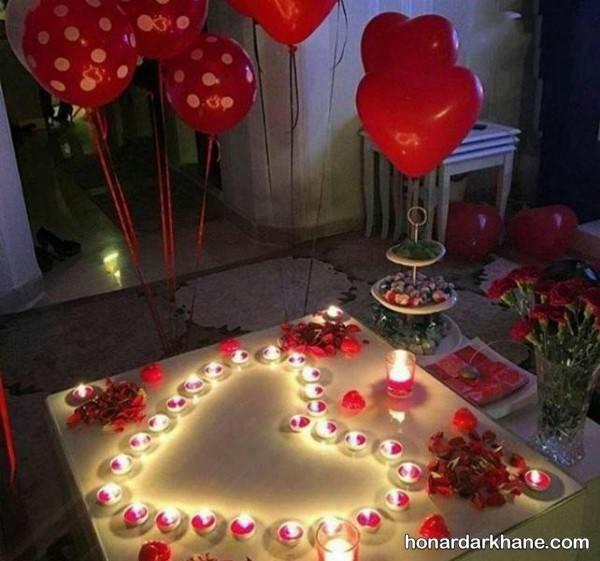 تزیین میز با شمع و گل برای ولنتاین
