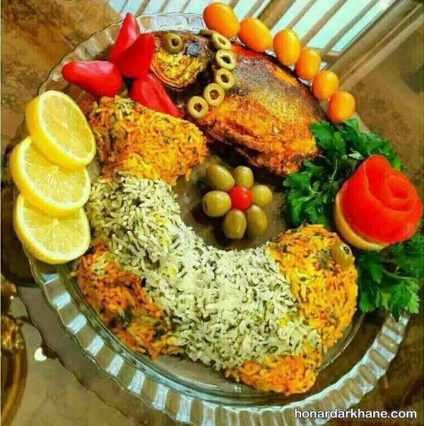 تزیین سبزی پلو با ماهی