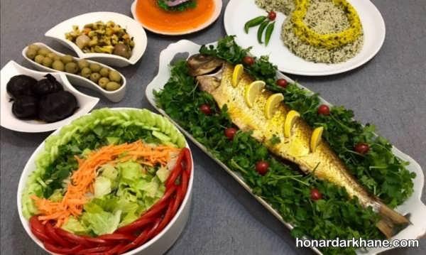 تزیینات شیک سبزی پلو با ماهی
