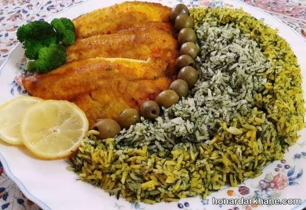 تزئین سبزی پلو با زیتون و ماهی برای شب عید