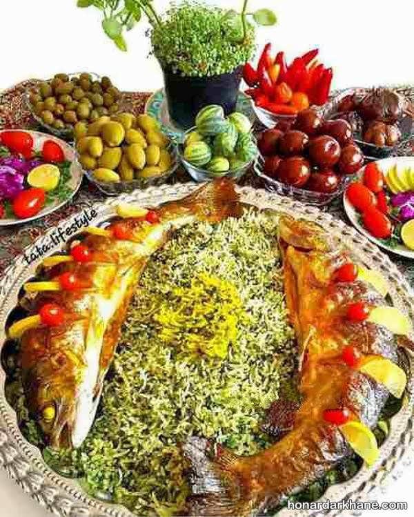 ایده خلاقانه برای تزئین سبزی پلو با ماهی