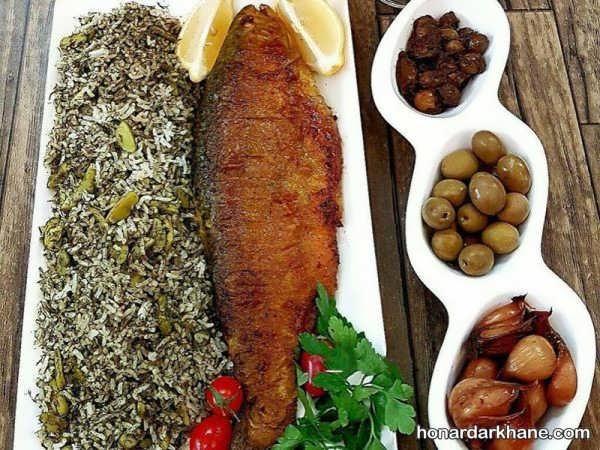 ایده خاص برای تزئین سبزی پلو با ماهی