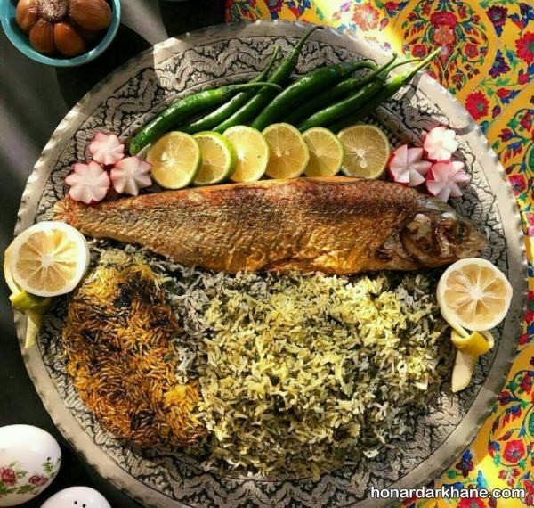 تزئین شیک سبزی پلو با ماهی