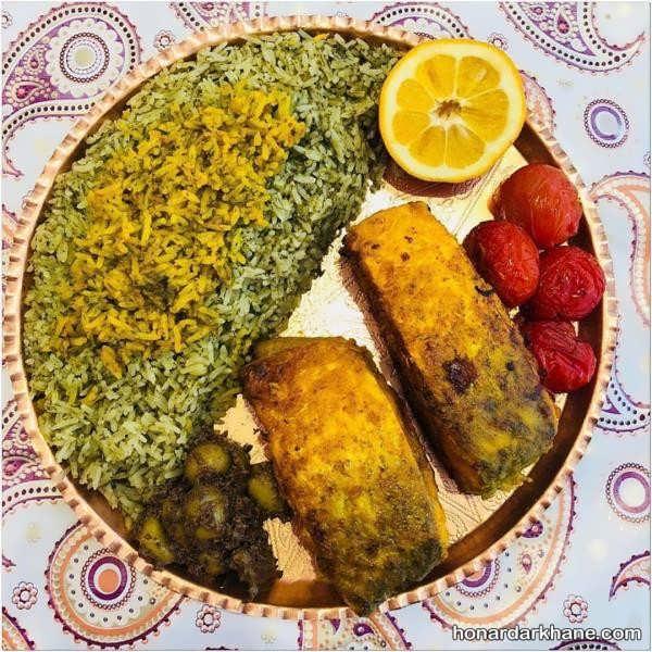 تزئین ساده سبزی پلو با ماهی