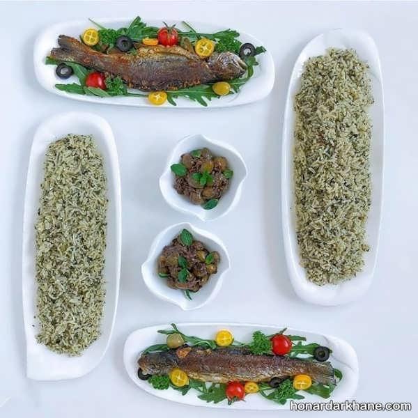 تزئین هنرمندانه سبزی پلو با ماهی