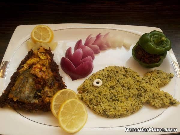 جدیدترین تزئین سبزی پلو با ماهی
