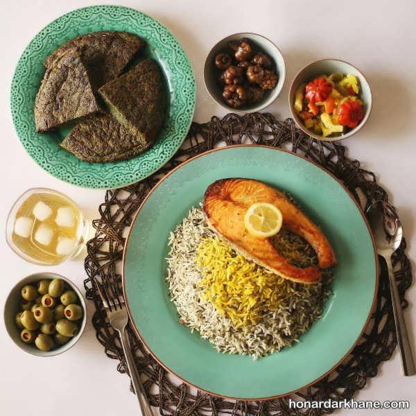 جالب ترین تزئین سبزی پلو با ماهی