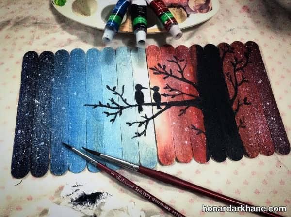 کاردستی چوب بستنی با نقاشی زیبا