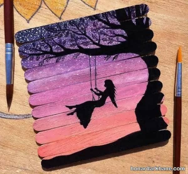 کاردستی چوب بستنی با نقاشی های متفاوت