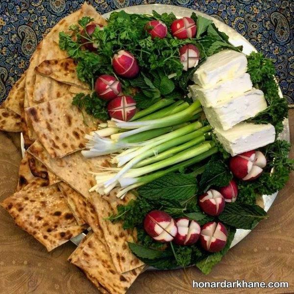 تزیین نان و پنیر سبزی سفره افطار