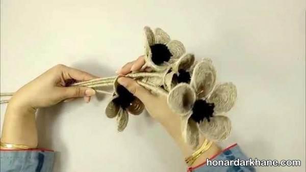 ساختن گل با نخ کنفی