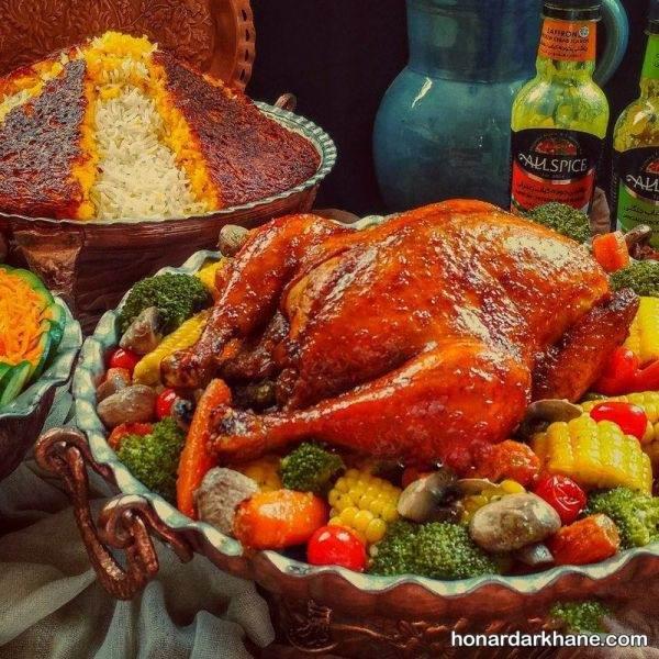 تزیین کردن مرغ برای مهمانی