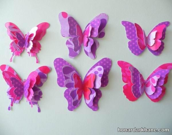 کاردستی پروانه با مقوا