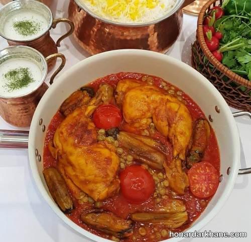 خورش مرغ و بادمجان