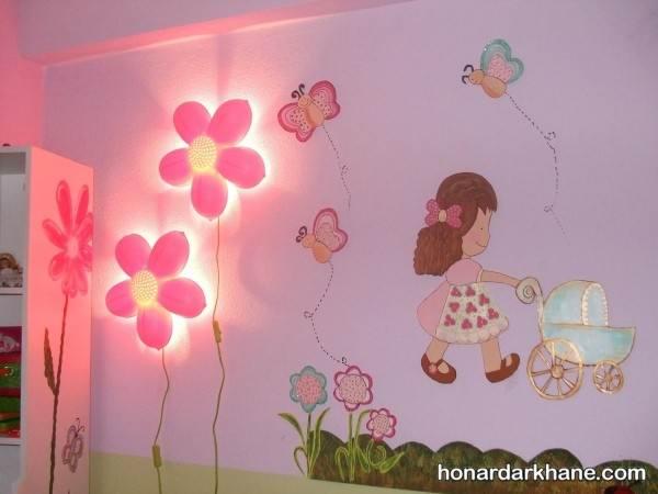 تزیین دیوار اتاق نوزاد دختر