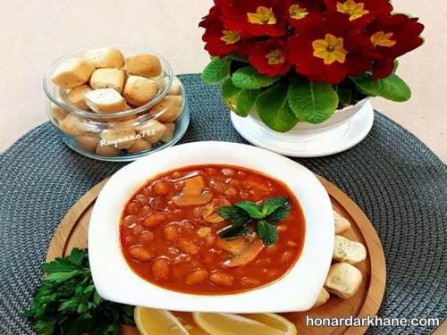 خوراک لوبیا چیتی و قارچ و سیب زمینی