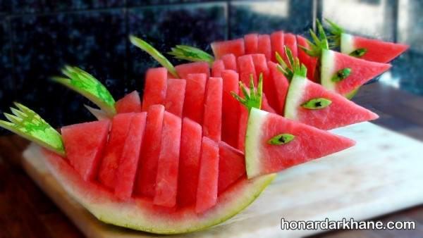 تزیین میوه ساده با هندوانه