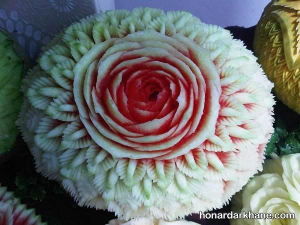 تزیین هندوانه به شکل گل