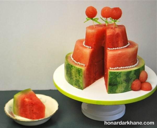 تزیین هندوانه به شکل کیک