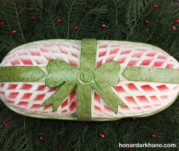 تزیین هندوانه به شکل پاپیون