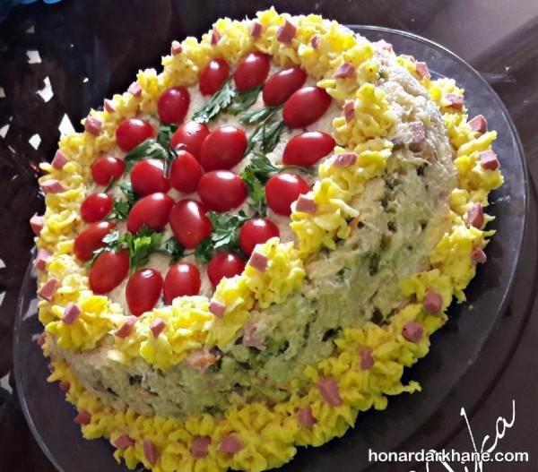 تزیین الویه به شکل کیک