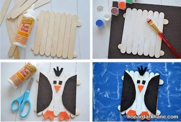 استفاده از چوب بستنی ایده ای جالب برای ساخت کار دستی