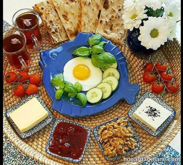 تزیین صبحانه برای دو نفر