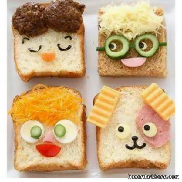 بکار بردن نان تست در تزیین صبحانه
