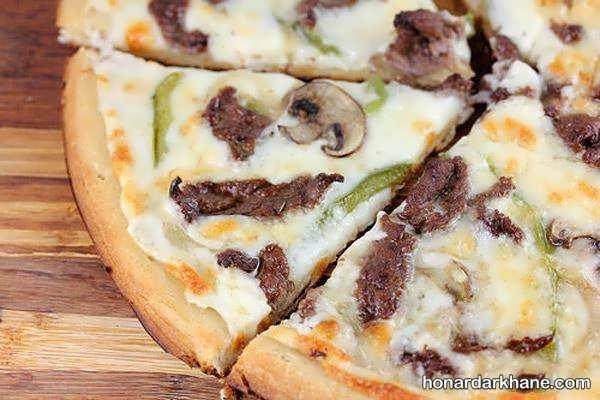 دستور تهیه پیتزا استیک با طعمی بسیار خوشمزه