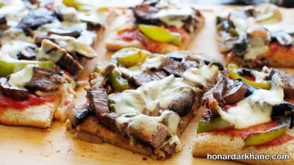 طرز تهیه پیتزا استیک بسیار خوشمزه