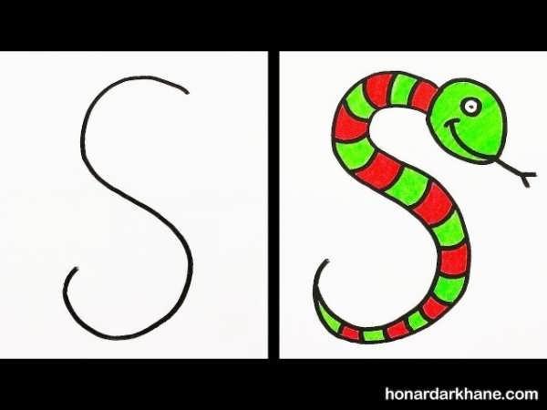 یادگیری نقاشی با حروف الفبا