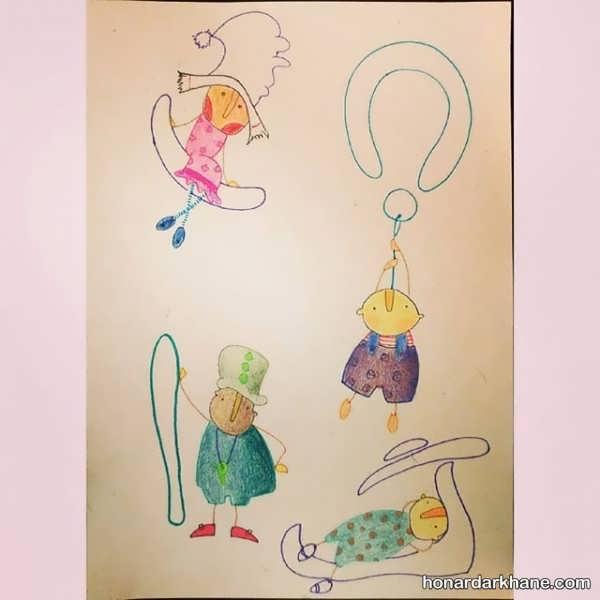 نقاشی کودکانه بسیار زیبا با حروف