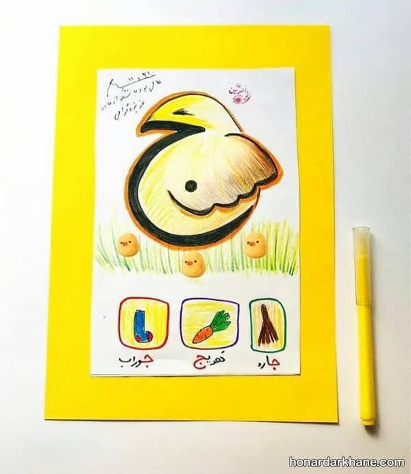 نقاشی کشیدن کودکان با حروف الفبا