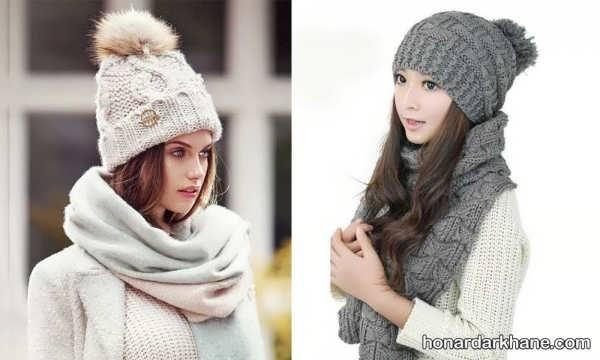 انواع شال و کلاه بافتنی دخترانه جدید و زیبا