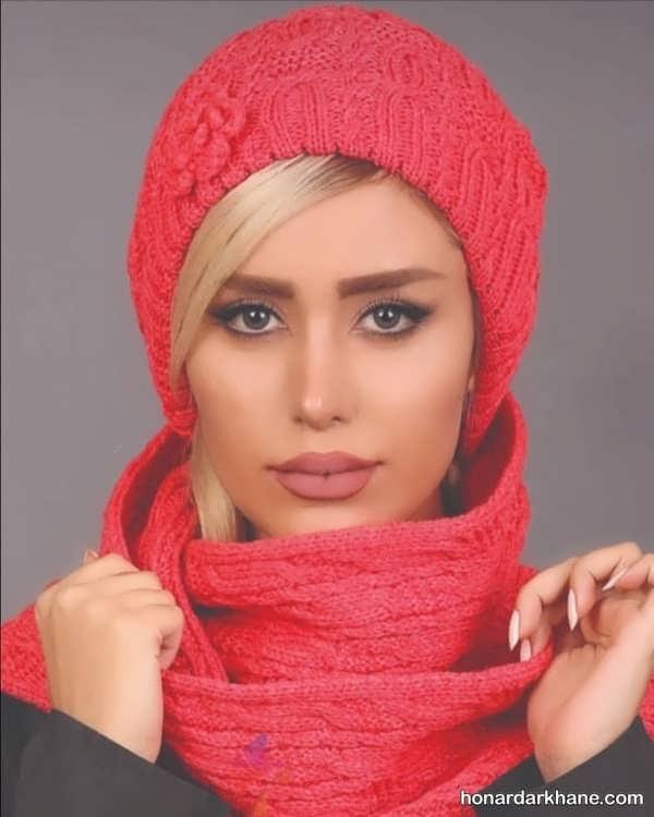شال و کلاه رنگی زمستانه