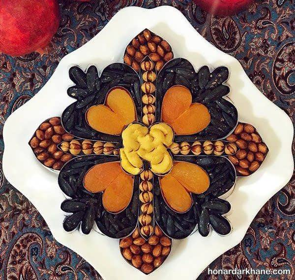 انواع مختلف تزیین آجیل و میوه برای یلدا