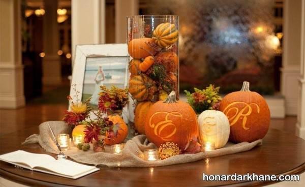 تزیین منزل با کدو و میوه های پاییزی