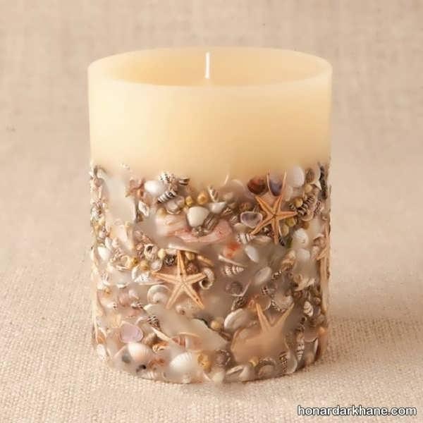 انواع جالب تزیین شمع با صدف