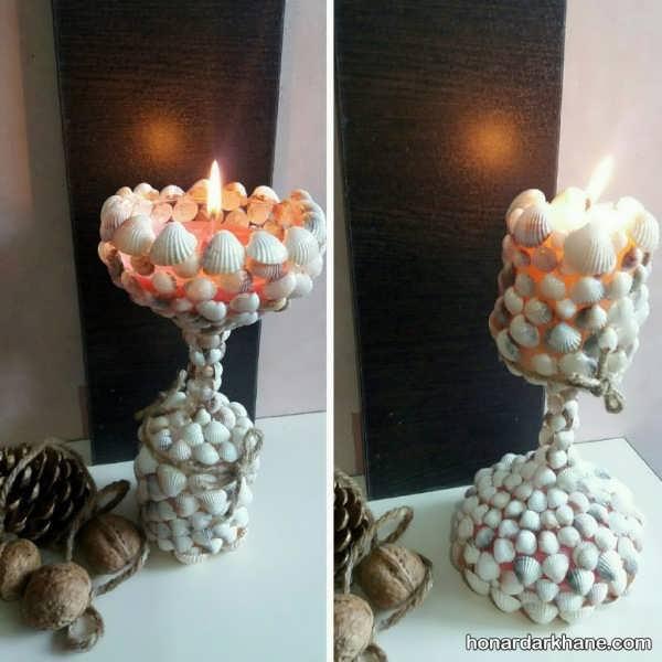 مدل های زیبا تزیین شمع با صدف
