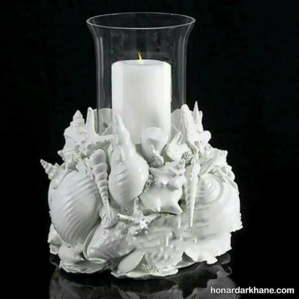 انواع جالب و زیبا شمع آرایی با صدف