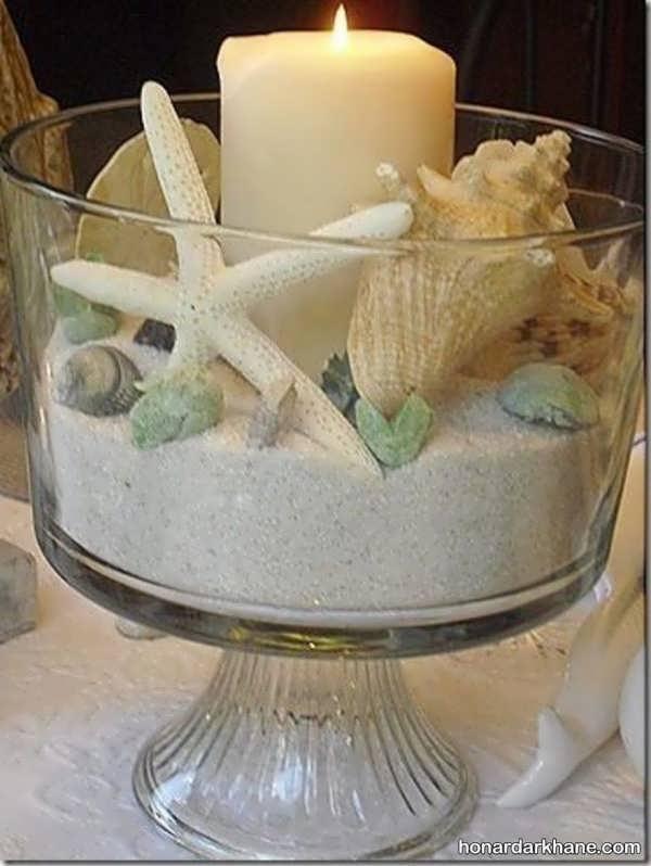 انواع تزیین شمع با صدف
