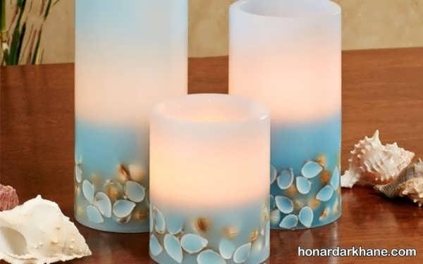 انواع زیبا سازی شمع با صدف